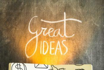 Free Open Book Plus Great Ideas Mockup in PSD