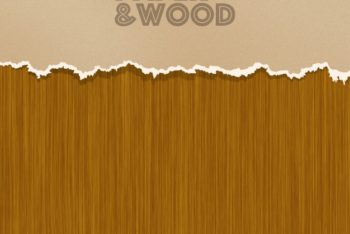 Free Paper Plus Wood Background Mockup in PSD