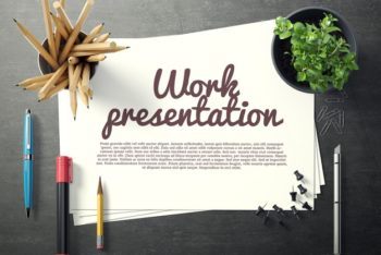 Free Traditional Workspace Plus Paper Mockup in PSD