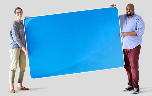 People Holding Blank Board