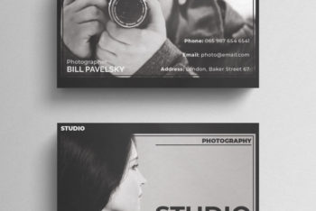 Free Dramatic Photography Business Card Mockup in PSD