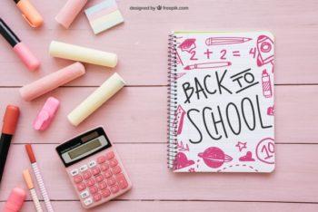 Free Pink Calculator Plus School Stationery Mockup