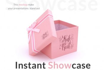 Free Cute Pink Gift Box Mockup in PSD