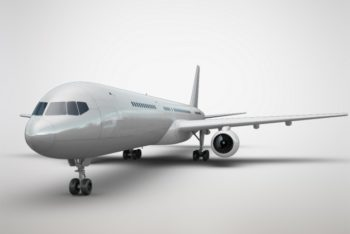 Free Airplane Front View Mockup in PSD