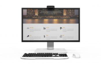 Free Realistic Modern Desktop Computer Mockup