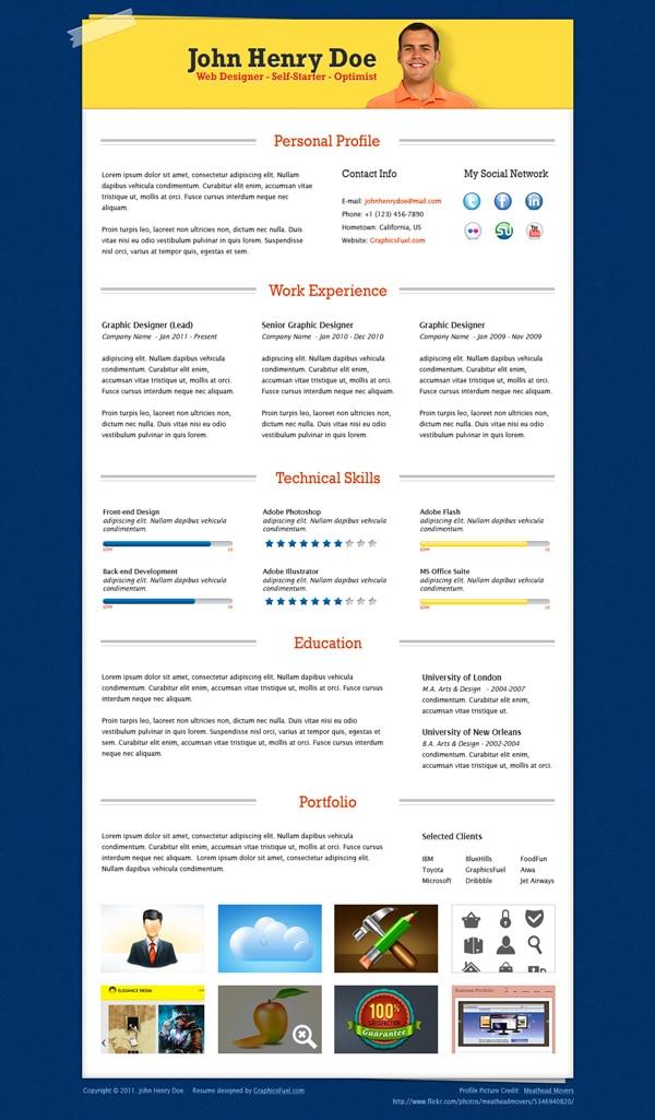 Resume PSD Template Design