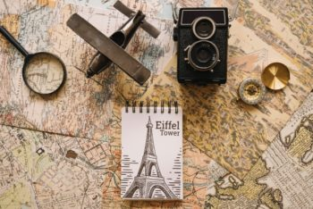 Free Retro Travel Concept Mockup in PSD