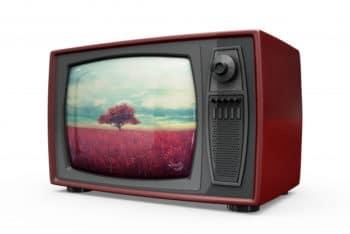 Free Shiny Retro Television Mockup in PSD