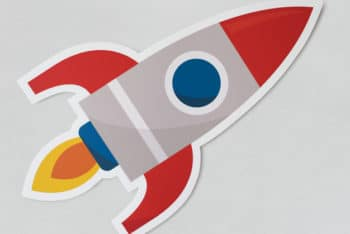 Free Launching Rocket Ship Symbol Mockup in PSD