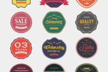 Free Sale Badge Collection Mockup in PSD