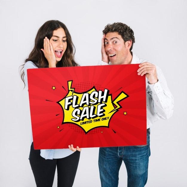 Couple Flash Sale Sign
