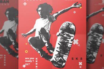Free Skateboard Flyer Design Mockup in PSD