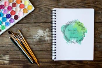 Free Spiral Sketchbook Plus Watercolor Mockup in PSD