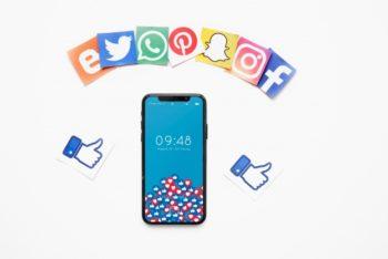 Free Smartphone Social Media Scene Mockup in PSD