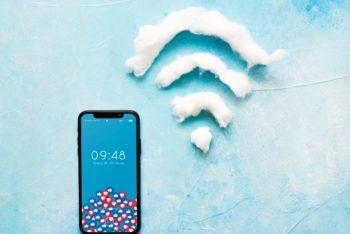 Free Smartphone Wifi Scene Mockup in PSD