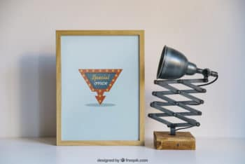 Free Weird Lamp Plus Special Frame Mockup in PSD