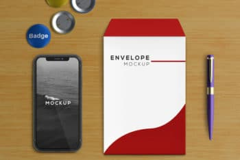 Free Smartphone Plus Stationery Envelope Mockup