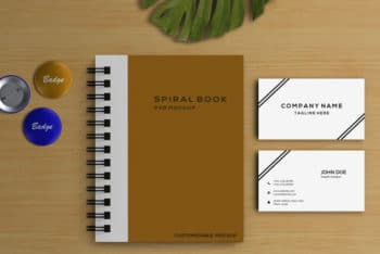 Photorealistic Spiral Notebook PSD Mockup