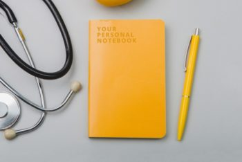 Free Lemon Stationery Plus Stethoscope Mockup in PSD