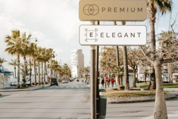 Free Elegant Street Sign Design Mockup in PSD