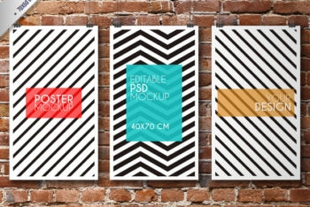 Free Striped Poster Design Mockup in PSD