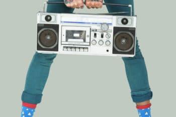 Free Studio Shoot Plus Radio Mockup in PSD
