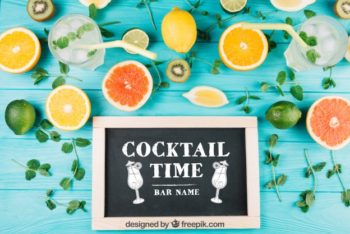 Free Summer Fruit Cocktail Concept Mockup in PSD