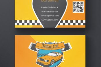 Free Taxi Business Card Design Mockup in PSD