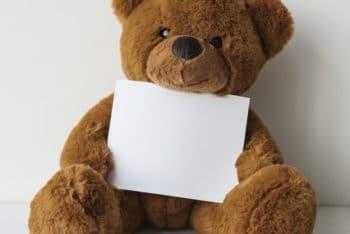Free Teddy Bear Plus Blank Paper Mockup in PSD