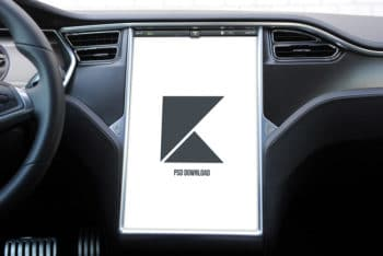 Free Tesla Electric Car Touchscreen Mockup in PSD