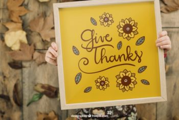 Free Thanksgiving Frame Design Mockup in PSD