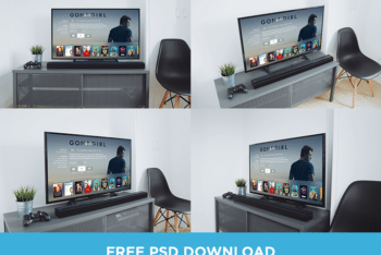 Free Awesome Television Set Perspective Mockup in PSD