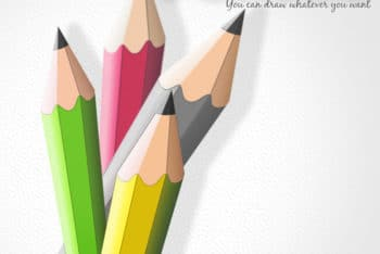 Free Vector Pencils Design Mockup in PSD