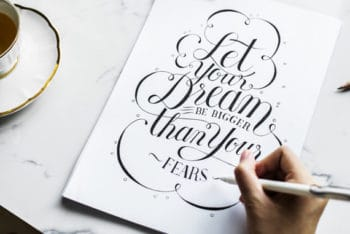 Free Vintage Inspirational Text Mockup in PSD