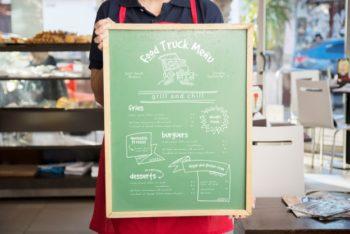 Free Board Menu Plus Waitress Mockup in PSD