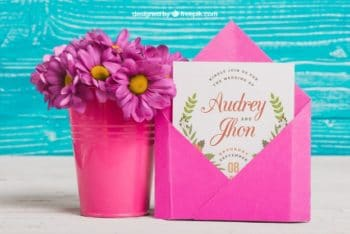 Free Wedding Card Plus Flower Pot Mockup in PSD