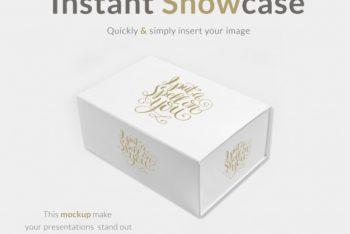 Free Elegant White Gift Box Mockup in PSD