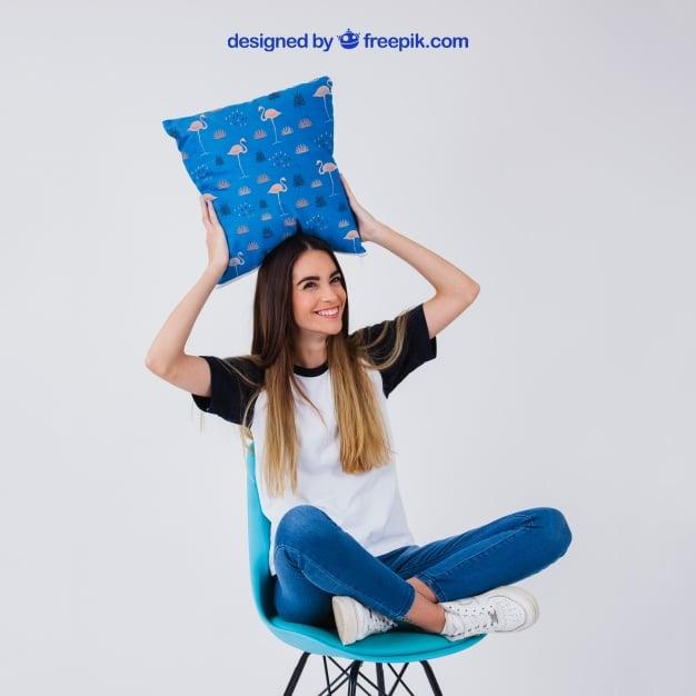 Woman Holding Chair Cushion