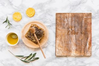 Free Wood Plus Olive Oil Mockup in PSD