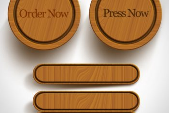 Free Wooden Buttons Design Mockup in PSD