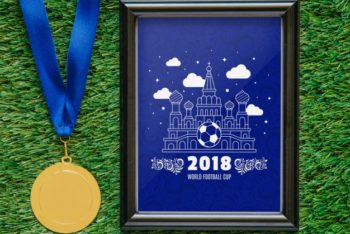 Free World Football Cup Medal Mockup in PSD