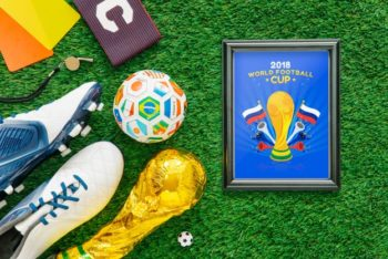 Free Football World Cup Frame Mockup in PSD