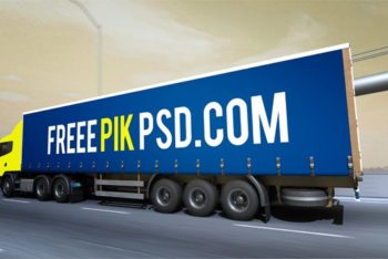 Cargo Truck Advertising PSD Mockup for Free