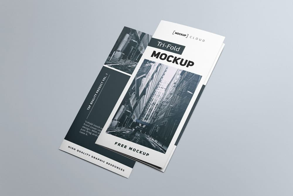 photorealistic trifold brochure mockups