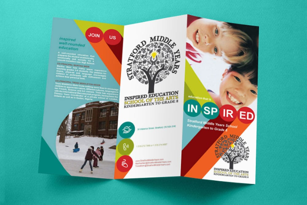 colorful trifold brochure mockups