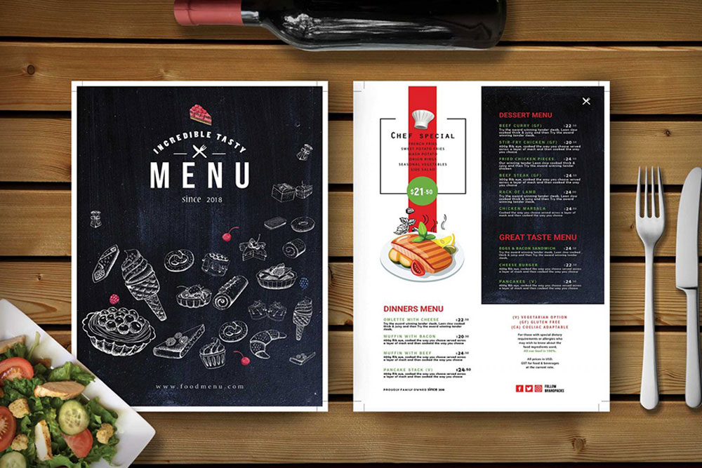menu mockups