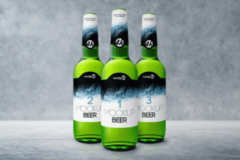 Beer Bottles PSD Mockup – Available in Photoshop Compatible Layered Format