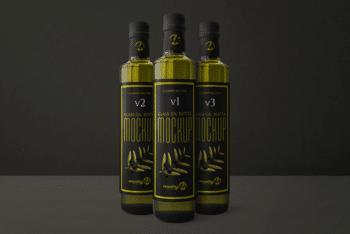 A Set of 3 Oil Bottles PSD Mockup
