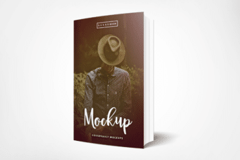 Standing Paperback Book Cover PSD Mockup