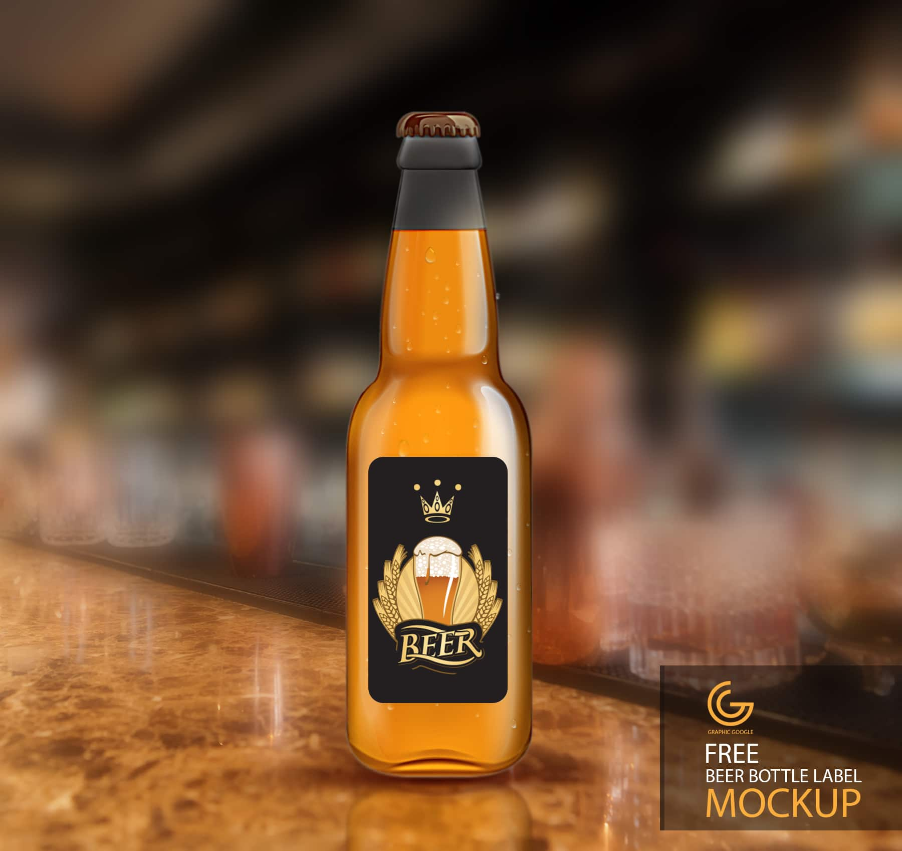 beer bottle label design mockup in psd download free designhooks